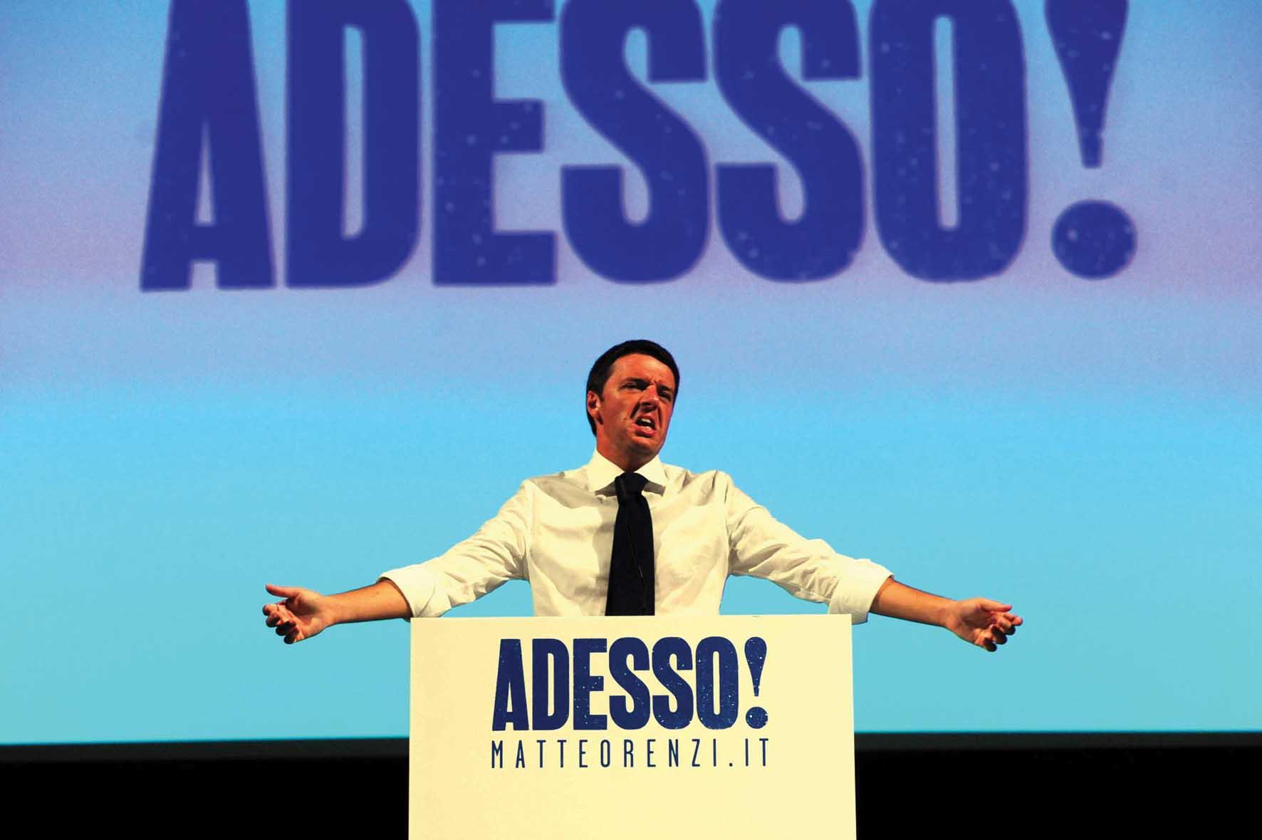 mattero renzi campagna primarie palco 1