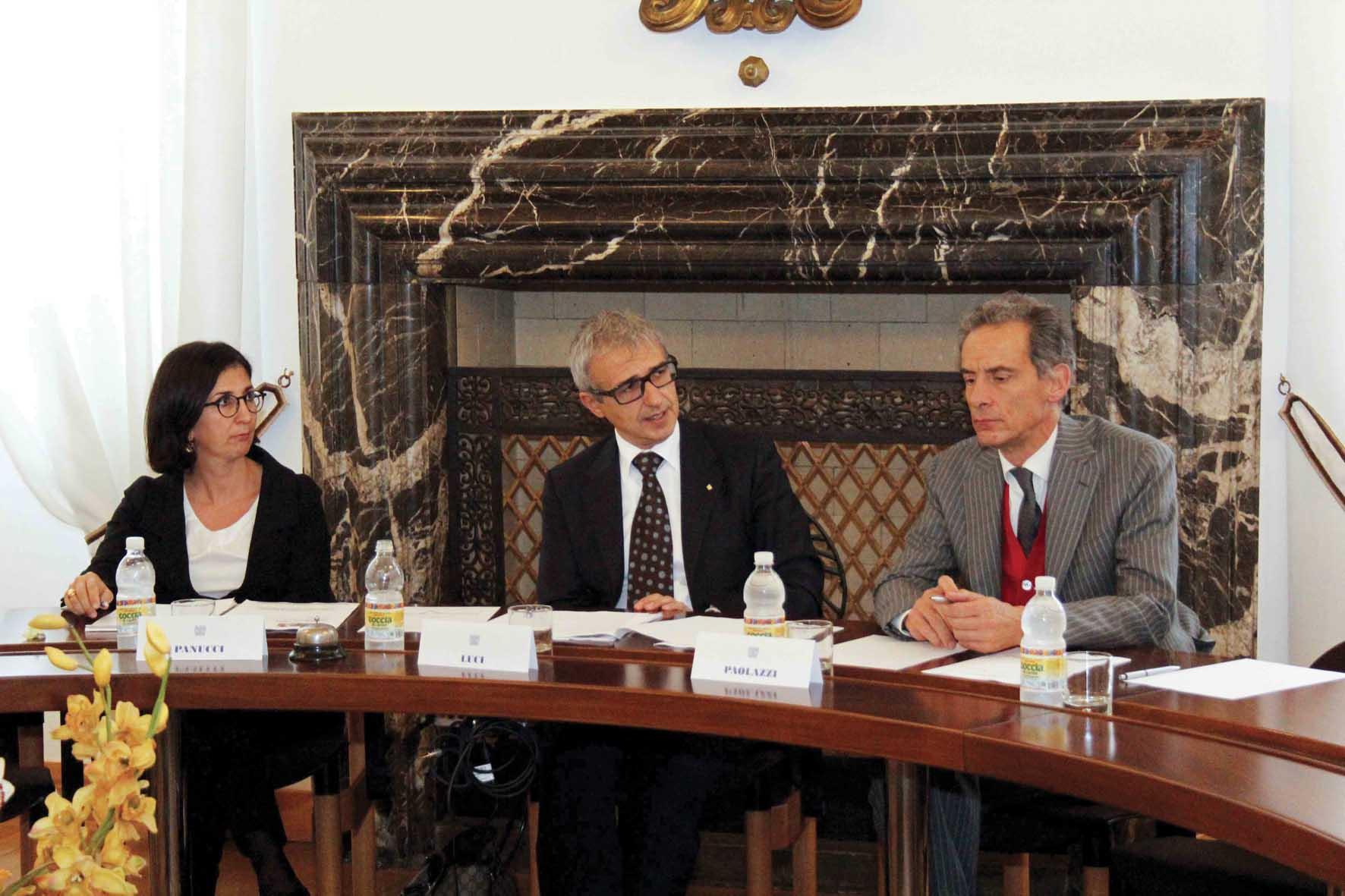 Confindustria Udine Marcella Panucci DG confindustria Adriano Luci e Luca Paolazzi Uff st Confindustria 1