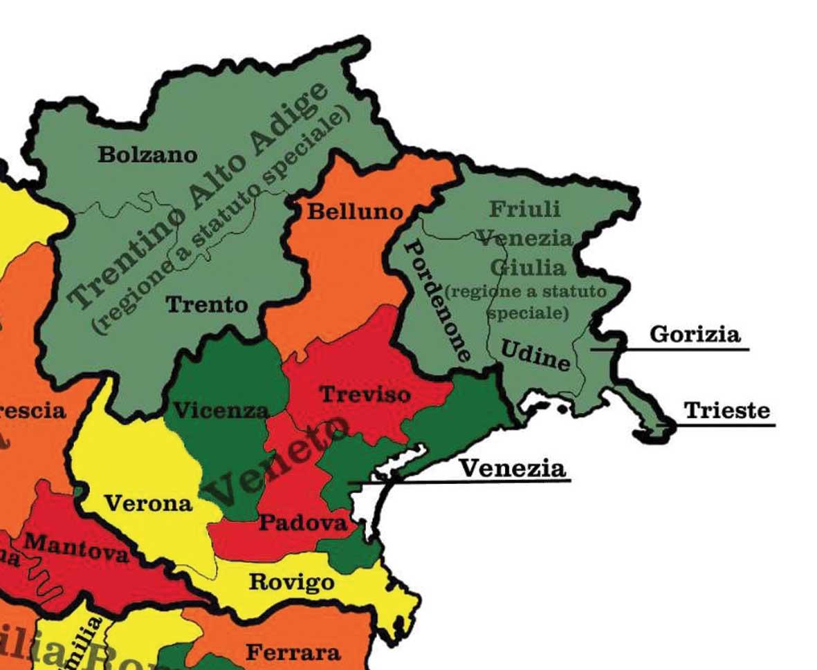 mappa italia suddivisione regioni province riassetto NordEst 1