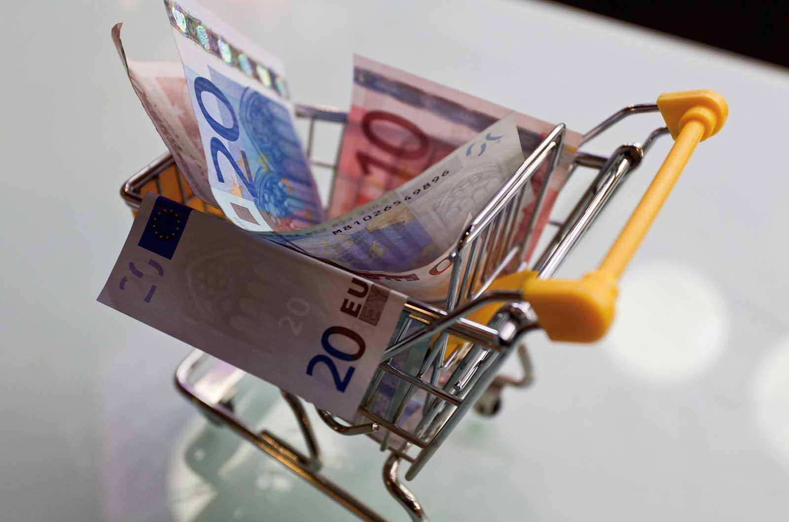 carrello spesa soldi euro 1