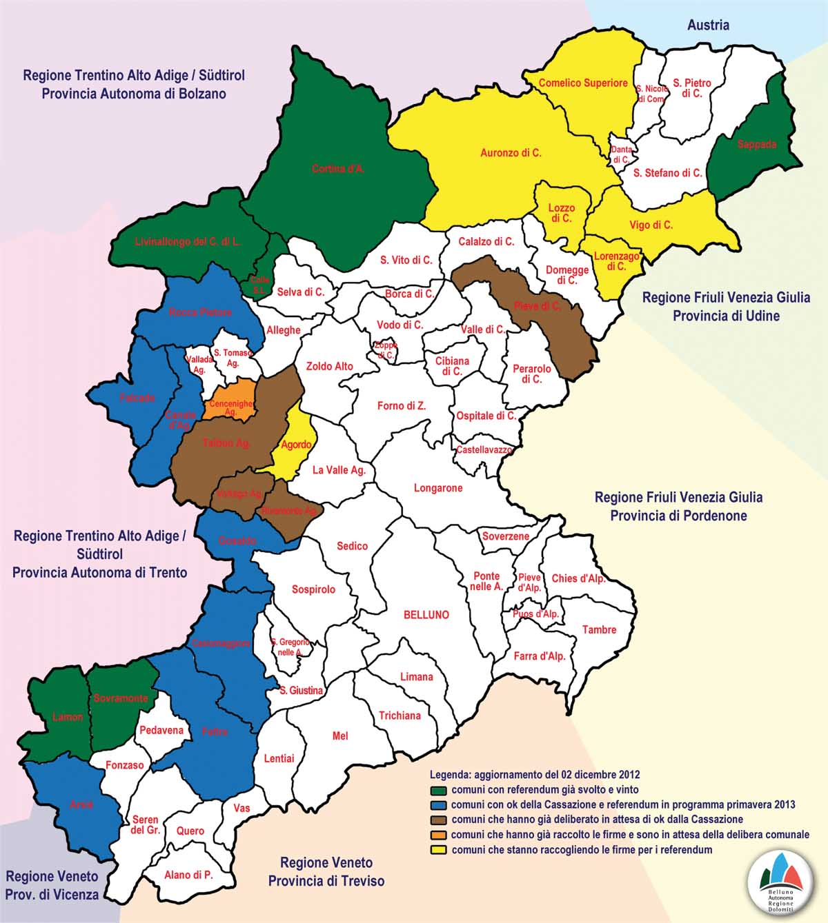 Cartina Comuni Veneto.Al Voto I Nuovi Sette Comuni Secessionisti Della Montagna Bellunese Il Nordest Quotidiano