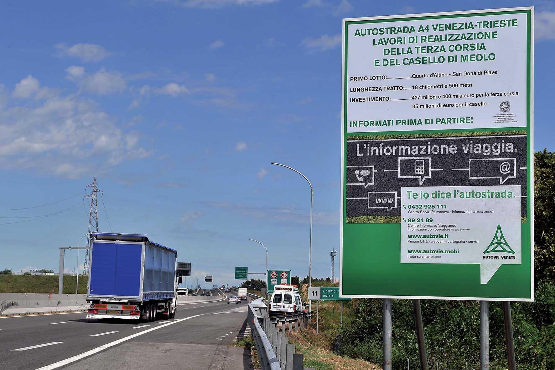 A4 terza corsia Cantiere Noventa di Piave cartello lavori 1