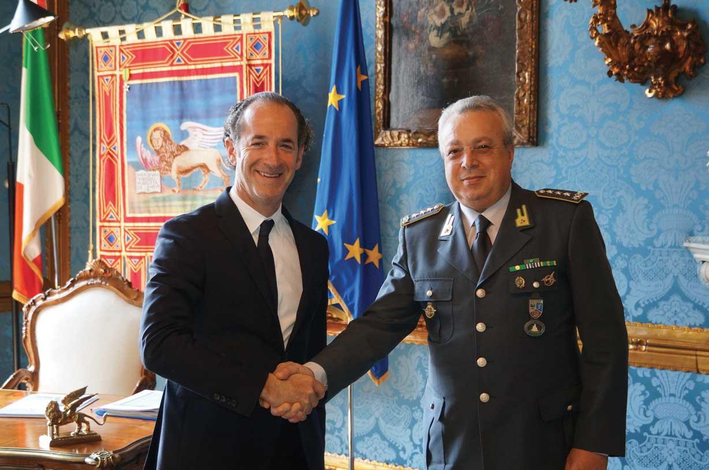 Luca Zaia e generale Flavio Zanini comandate GdF nordorientale 1