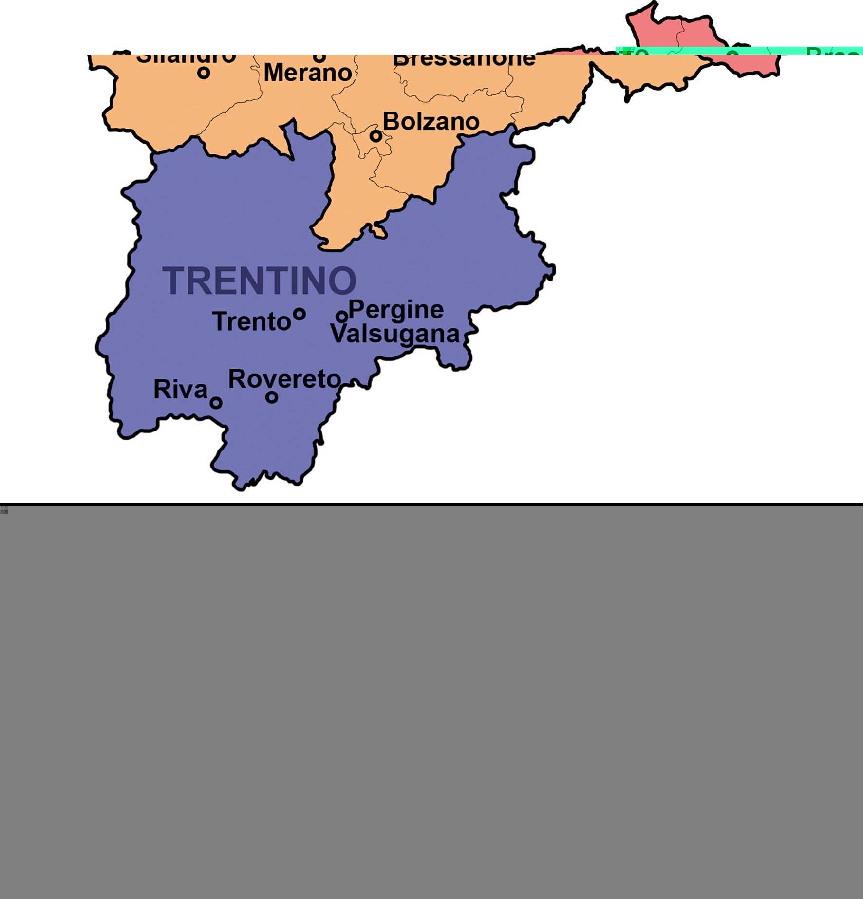 Tirolo-Südtirol-Trentino mappa con circondari
