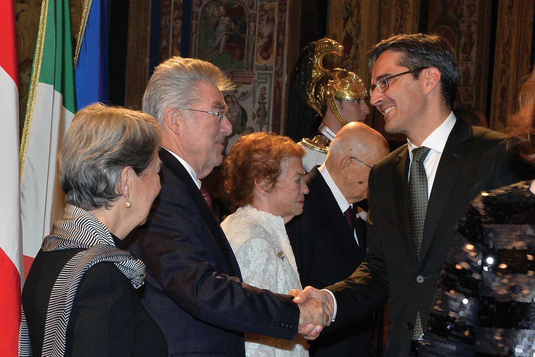 PAB ricevimento quirinale Napolitano presidente Austrai Fischer e Kompatscher 1