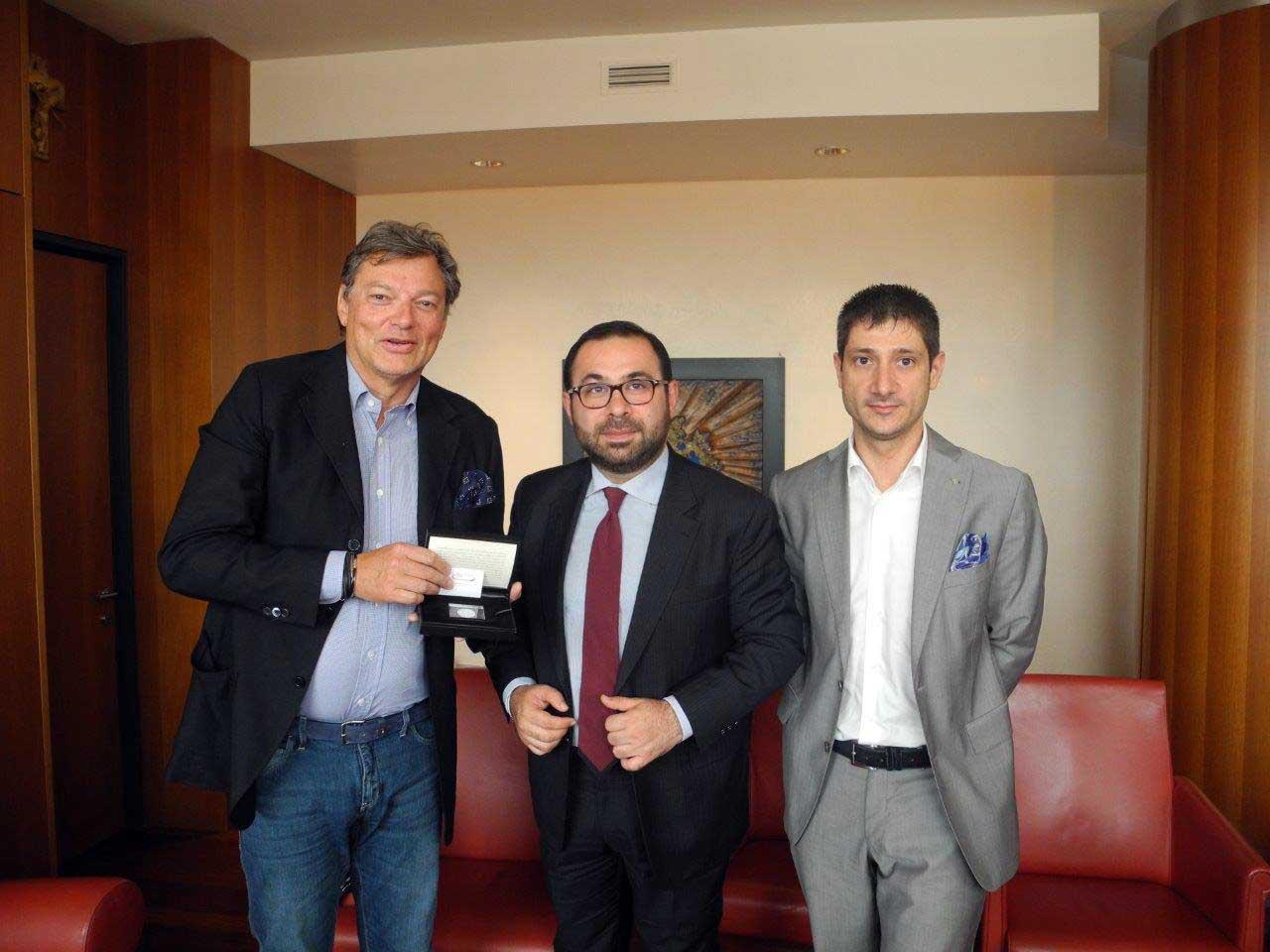 Ambasciatore Armenia Sargis Ghazaryan con Matteo Tonon e Giovanni da Pozzo pres Cciaa Ud