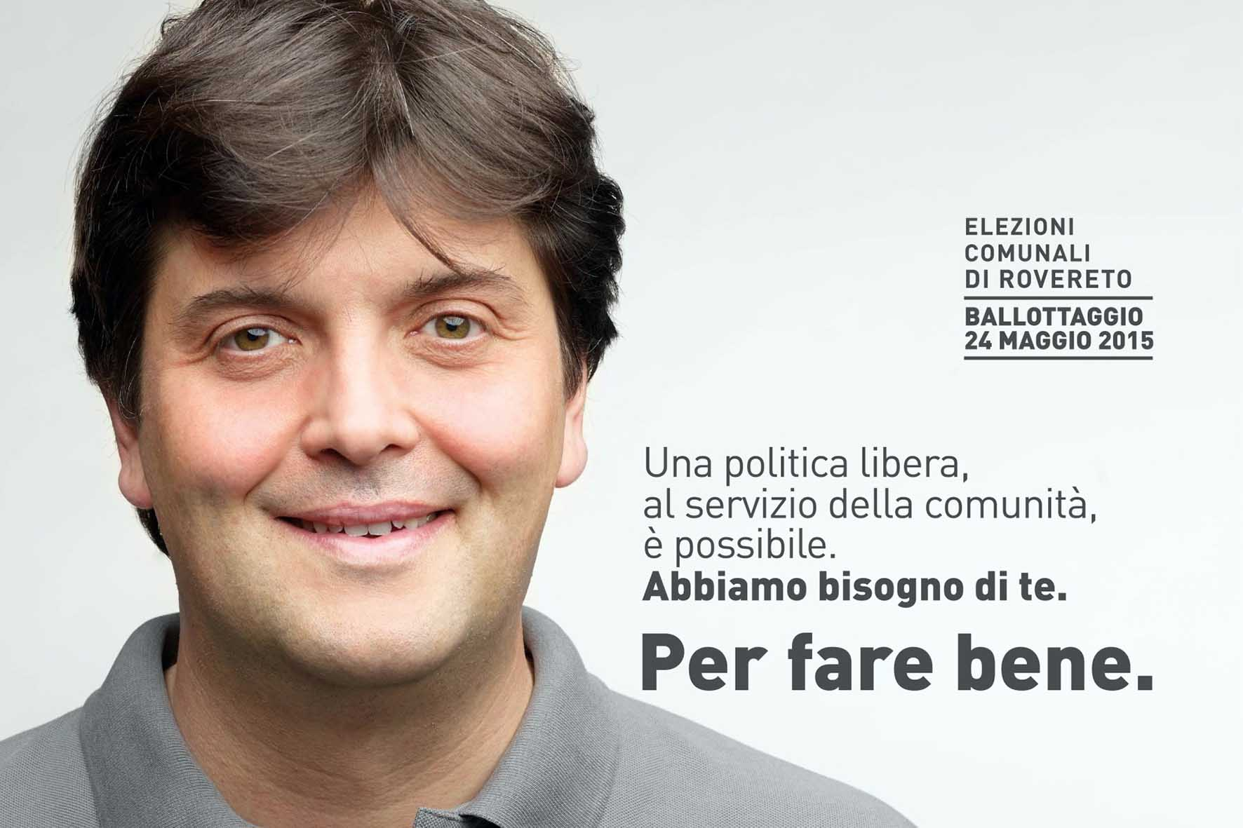 cartellone elettorale francesco valduga ballottaggio rovereto 2015