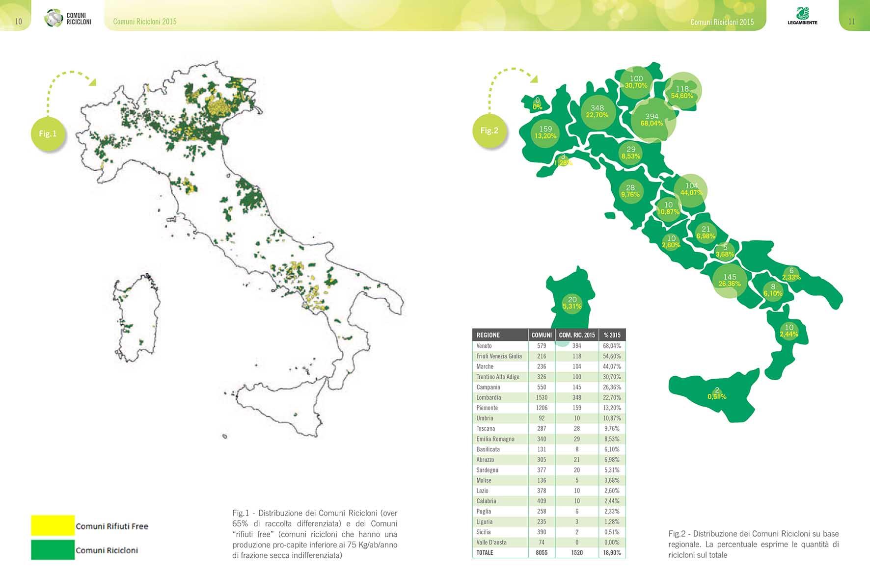 comuni ricicloni 2015 mappa italia
