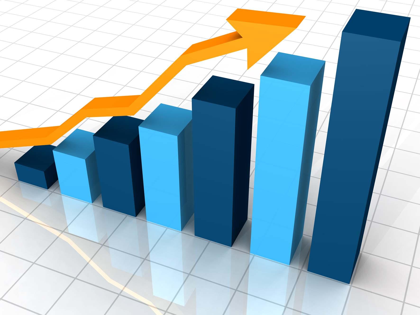 grafico crescita con freccia