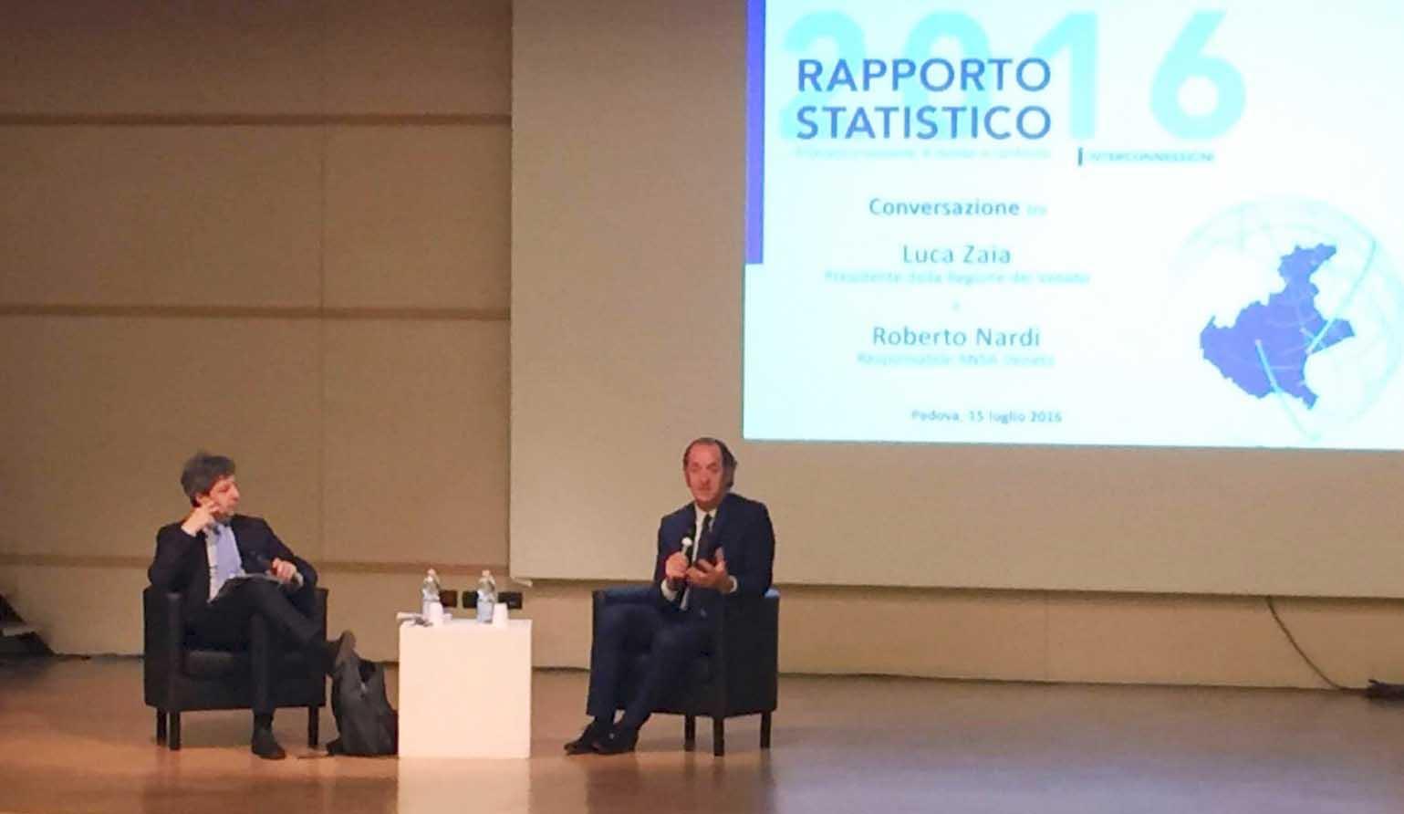 ZLuca zaia presentazione rapporto statistico 2016 veneto con roberto nardi