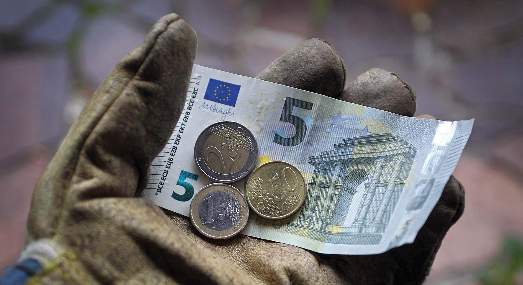 euro soldi mano guanto da lavoro