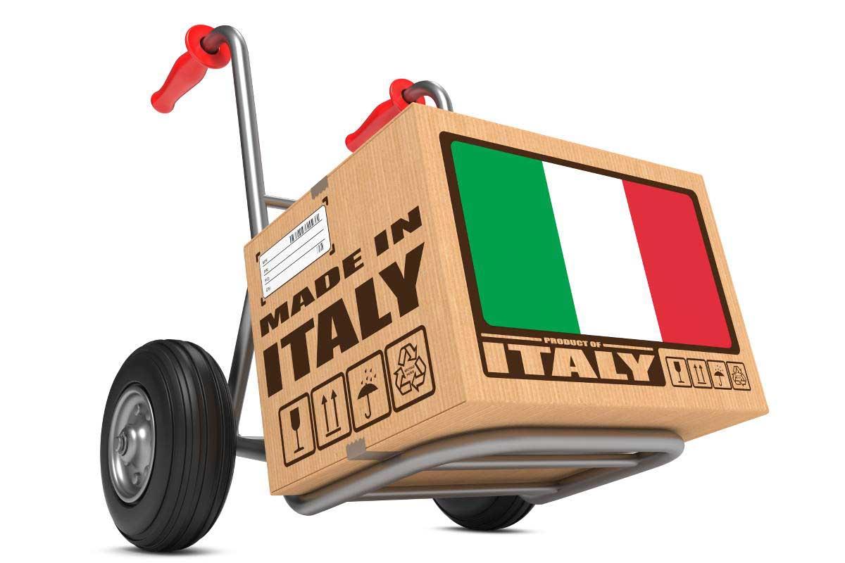 export made in italy pacco su carrello bandiera italia