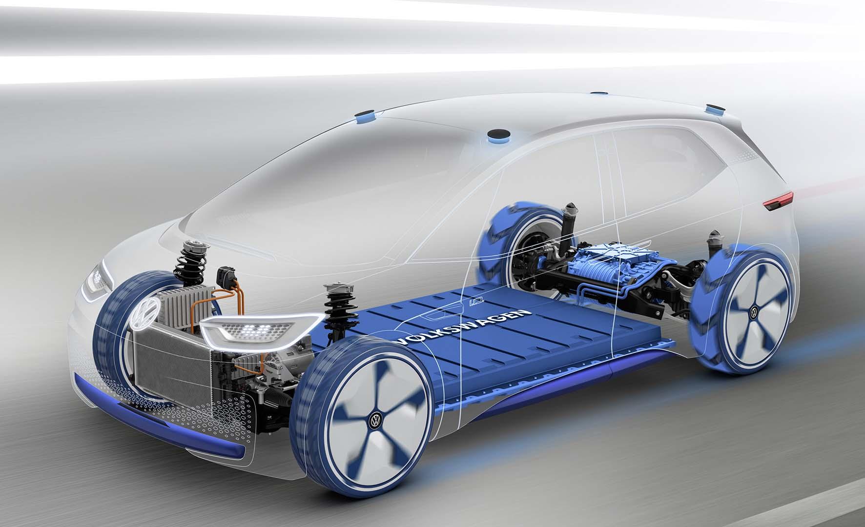 Volkswagen prototipo elettrico ID trasparenza batteria e organi meccanici 2