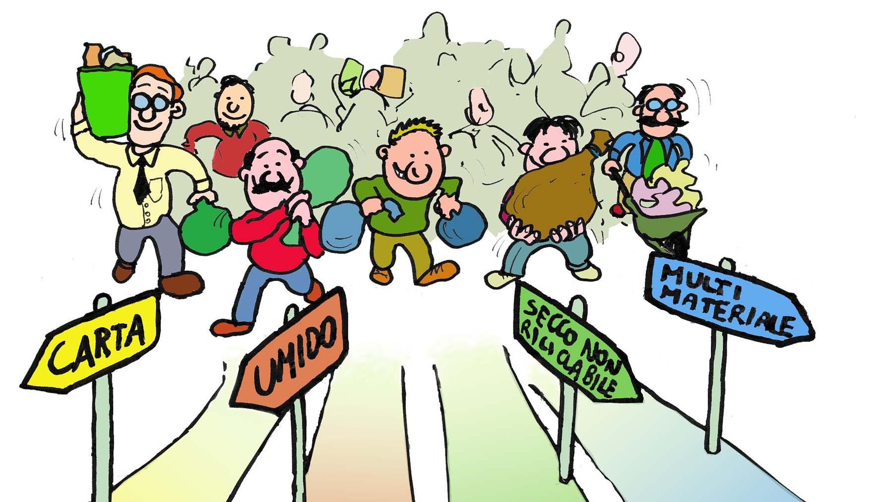 rifiuti raccolta differenziata vignetta