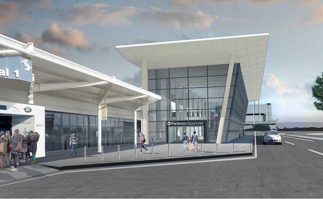 aeroporto catullo rendering nuova stazione arrivi lato ingresso