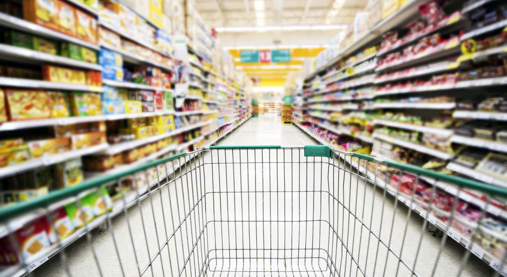 commercio al dettaglio supermercato carrello spesa vuoto crisi consumi