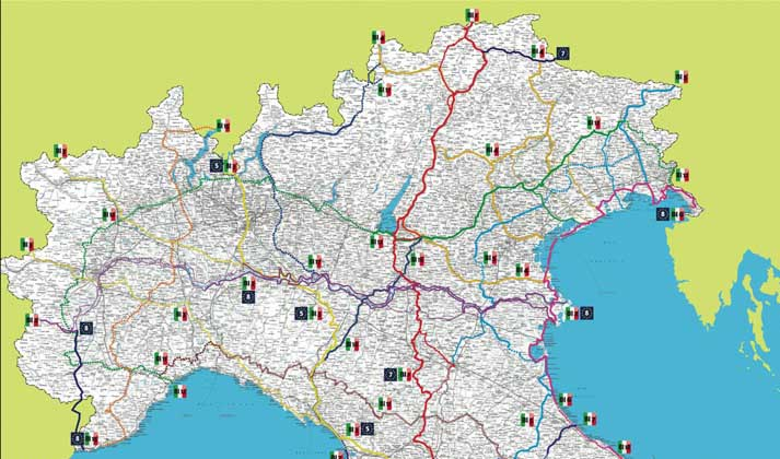 Italia Nord Est Cartina.Dal Governo 4 7 Milioni Di Euro Per Progetti Di Fattibilita Delle Prime 4 Ciclovie Il Nordest Quotidiano