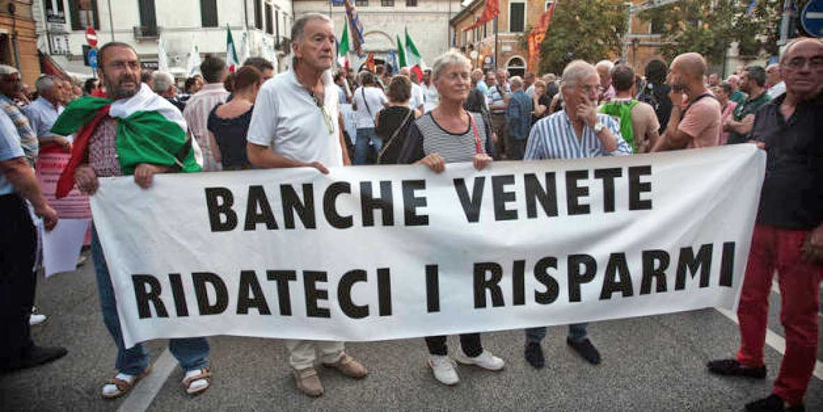 protesta risparmiatori banche venete