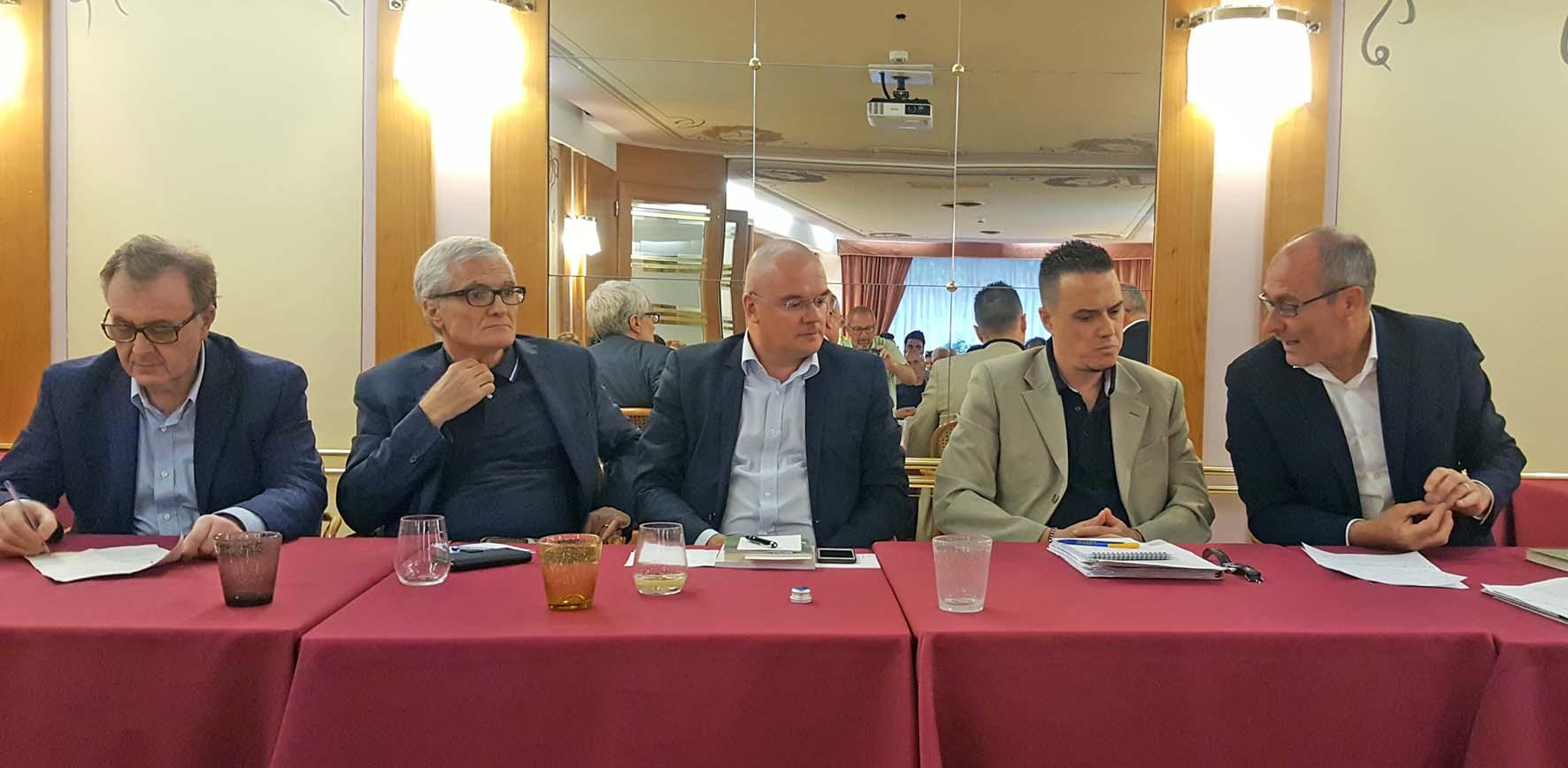 da sx Mauro Gilmozzi Michele Nicoletti Enrico Borghi Simone Casalini e Ugo Rossi durante la presentazione di Piccole Italie
