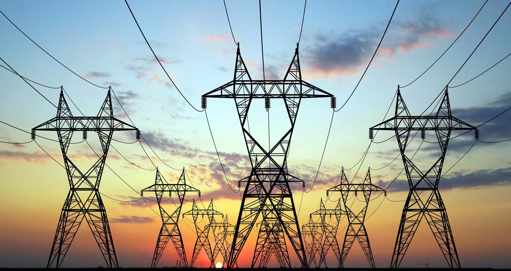 elettrodotti linee elettriche energia tramonto