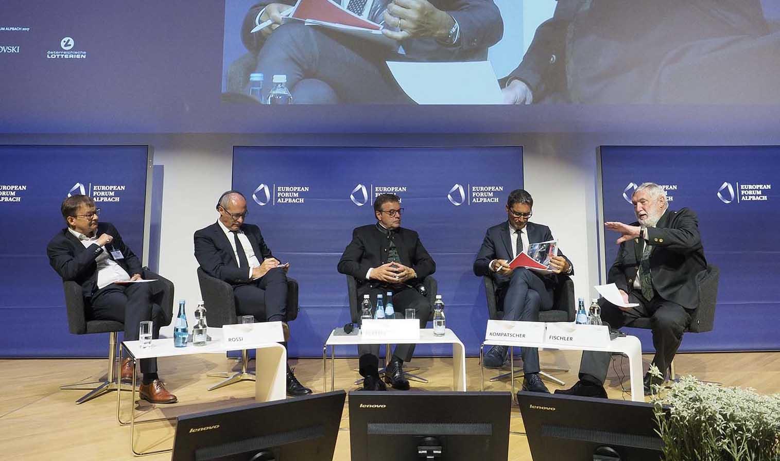 forum alpbach 2017 mobilità sostenibile nellEuregio Helmuth Moroder i presidenti Rossi Platter e Kompatscher Franz Fischler 2