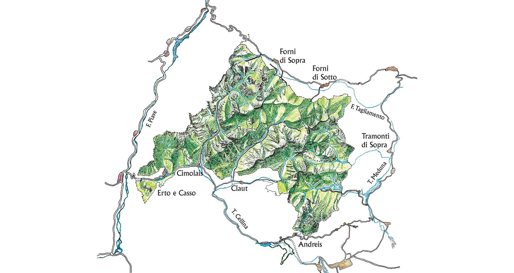 parco naturale dolomiti friulane mappa