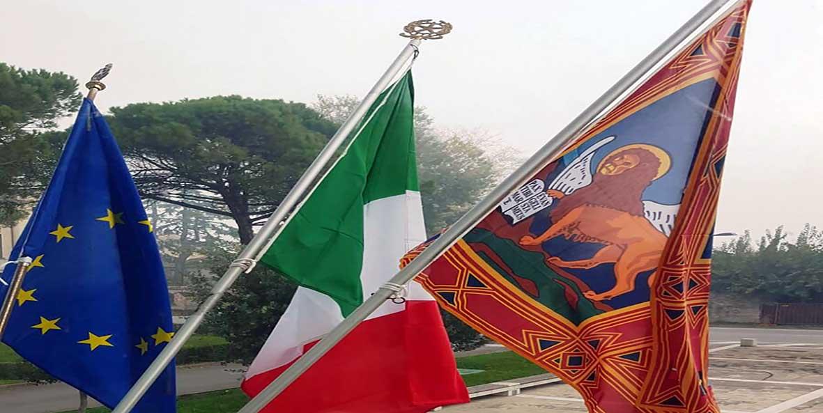 veneto bandiera regione italia e UE