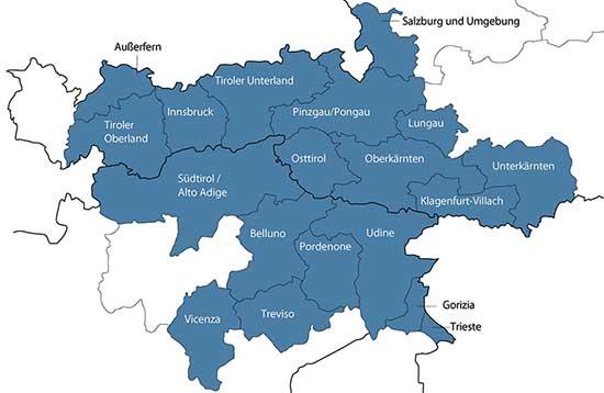 mappa Interreg V A Italia Austria