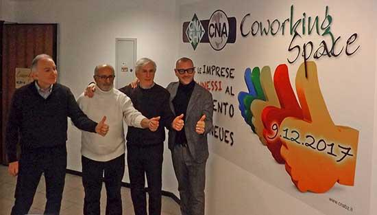 CNA BZ coworking space da sx Gianni Sarti Pino Salvadori Günther Schwienbacher e Claudio Corrarati