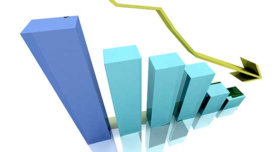 economia nazionale grafico 3D calo freccia