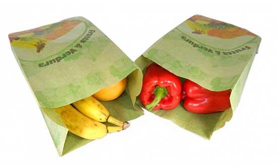 sacchetti in carta verde da frutta