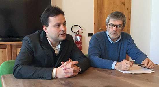 Lorenzo Cicolini sindaco di Rabbi e il presidente del Comitato provinciale di indirizzo e coordinamento e Claudio Ferrari direttore del Parco nazionale dello Stelvio Trentino