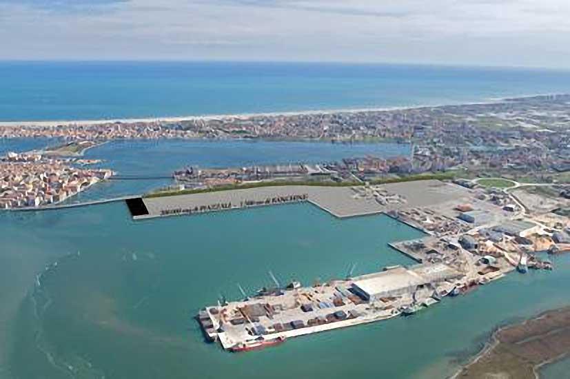 Rendering dell'area di bonifica in grigio le zone di espansione del porto